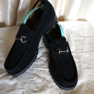 Gucci Horse Bit black Suede Loafers